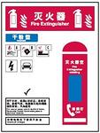 灭火器指示指南-干粉型 500MM*750MM  红黑蓝色 安全认知指南 安全宣传