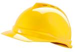 V-Gard 黄色 500 豪华型ABS帽壳+通风孔+轻旋风帽衬+D型下颏带+PVC吸汗带 梅思安 10109012 工作帽 建筑安全帽
