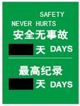 安全生产日-安全无事故最高记录 500MM*750MM 安全生产日看板 安全宣传