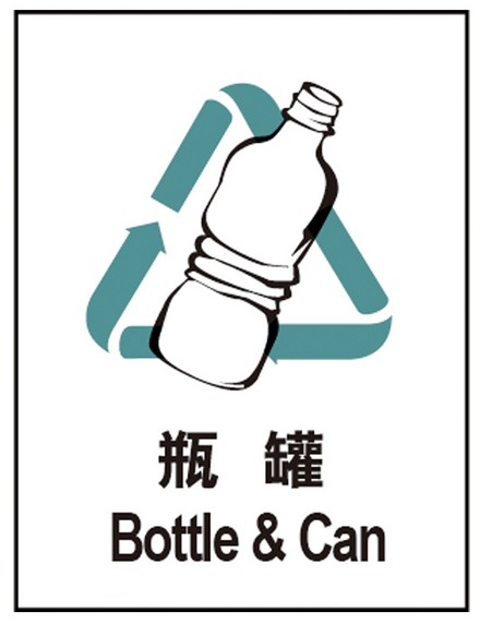 国家标准城市生活垃圾分类标识 提示表示 可回收物标识 瓶罐 标识牌